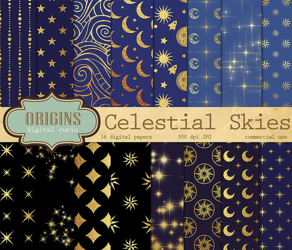 Celestial Digital Paper Backgrounds