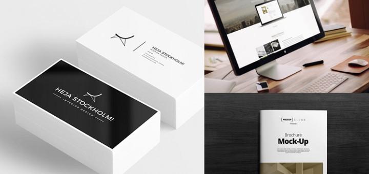 Brochure, Business card, and workstation Mock-up