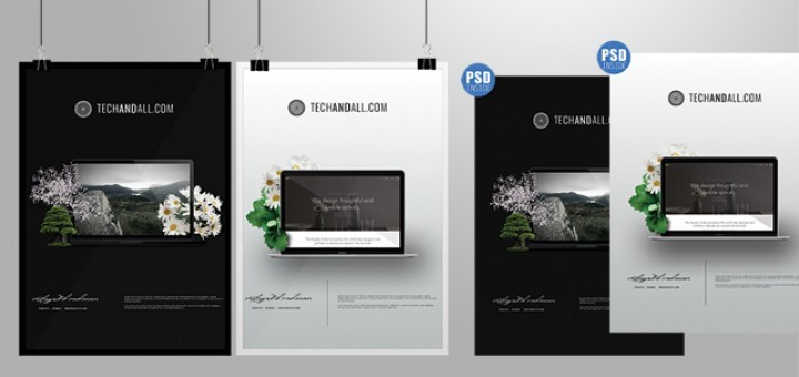 A4 Poster MockUp & Frame MockUp PSD