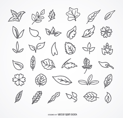 Stroke Leaves icon set