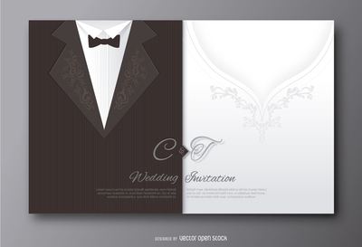 Wedding groom suit and bride's dress invitation