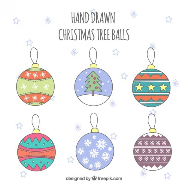 Hand drawn christmas tree balls