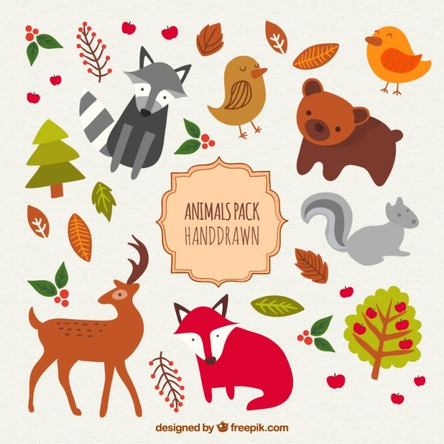 Hand drawn cute animals pack