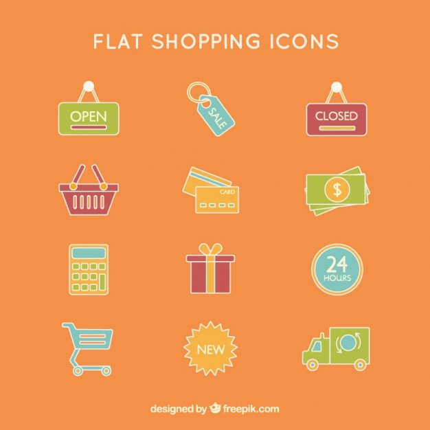 Colored flat shopping icons