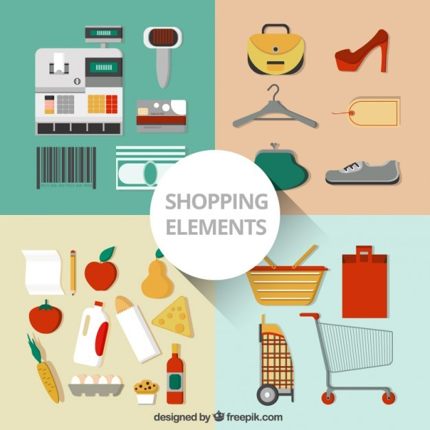 Collection of shopping elements