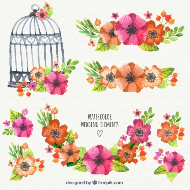 Watercolor wedding elements