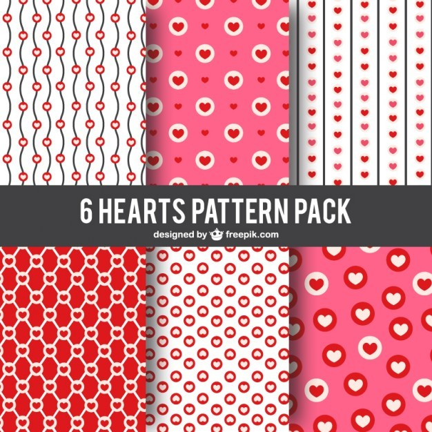 Hearts patterns pack Free Vector