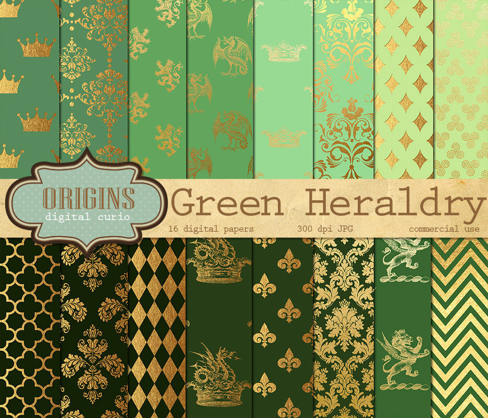 Green Heraldry Digital Paper Pack