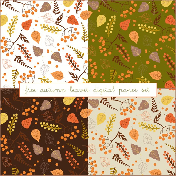 Free Autumn Leaves Digital Paper Set