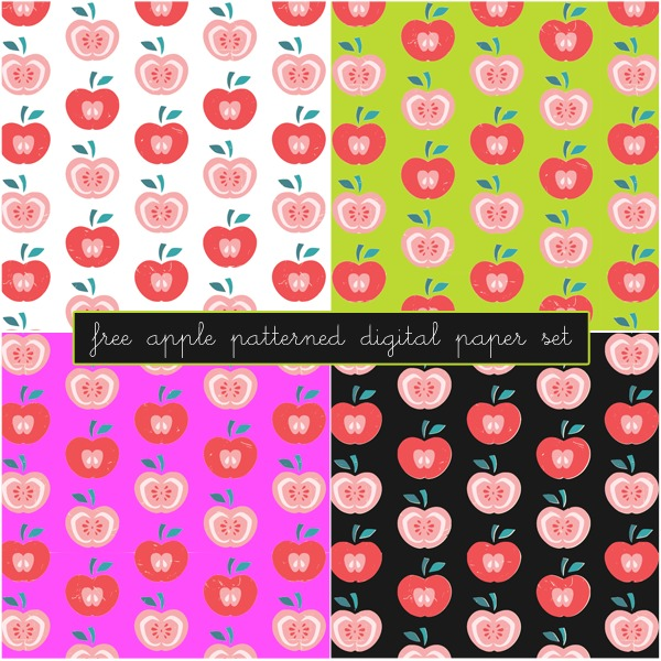 Free Apple Patterned Digital Paper