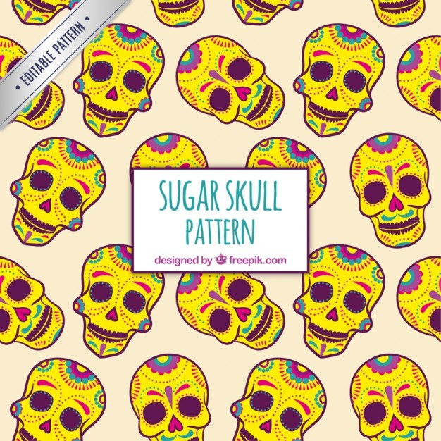Yellow sugar skulls pattern