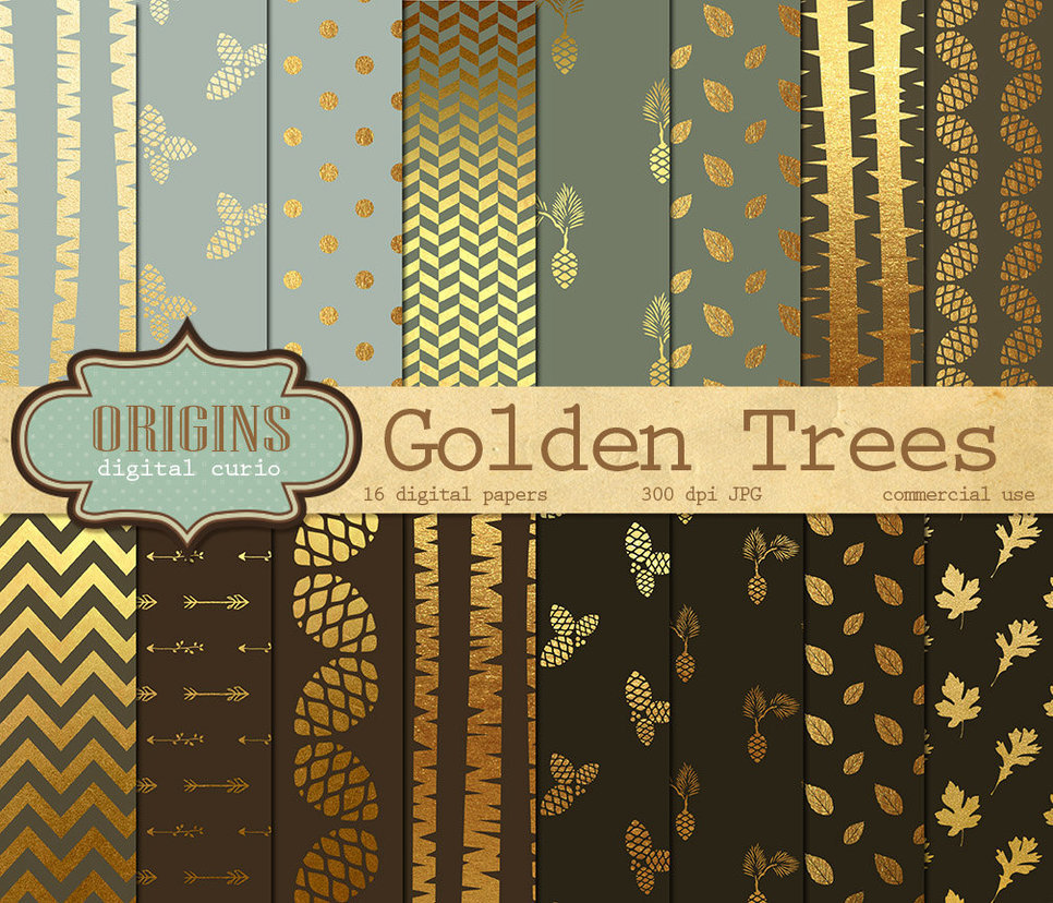 Golden Trees Digital Paper Pack