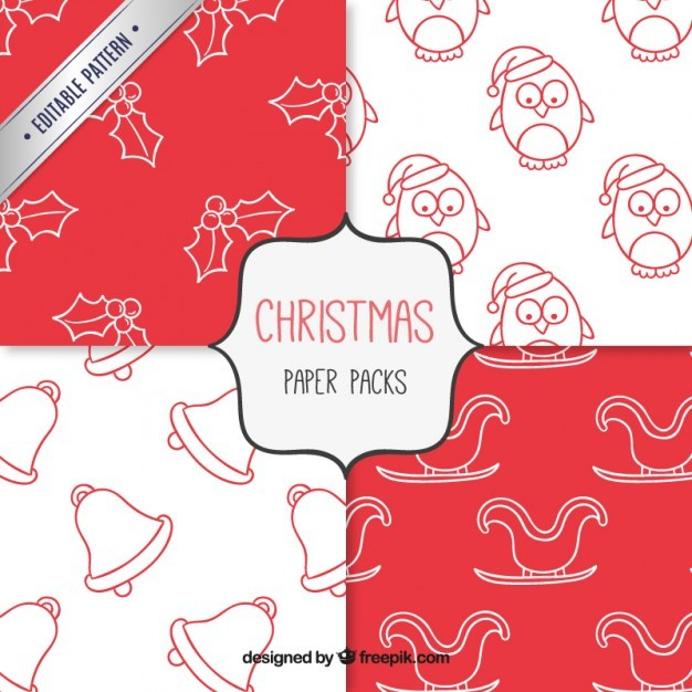 christmas doodle pattern set