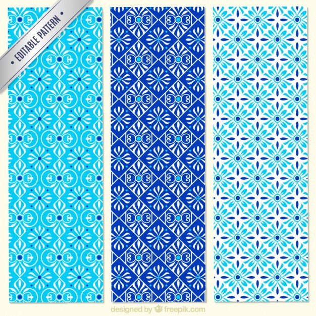 Collection of blue floral patterns