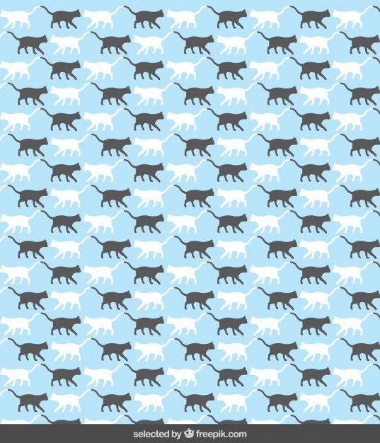 Pattern with cat silhouettes