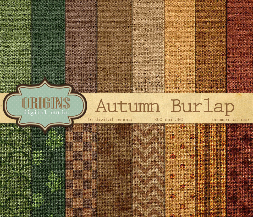 Autumn Burlap Digital Paper Pack