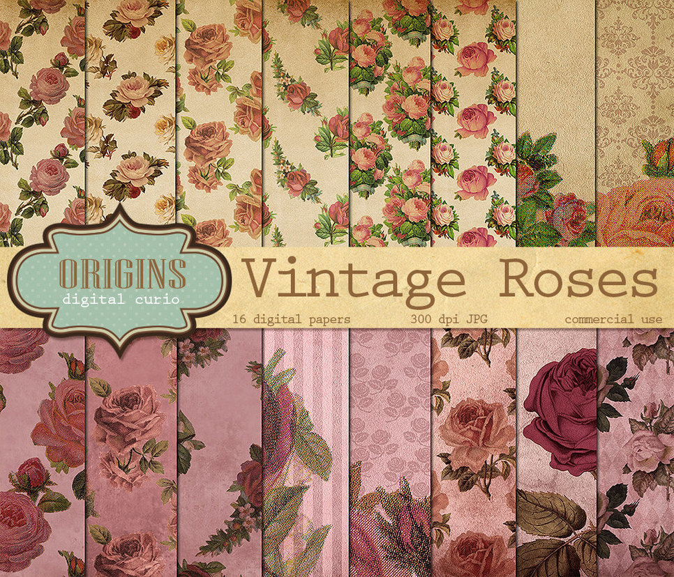 Vintage Roses Digital Paper Pack