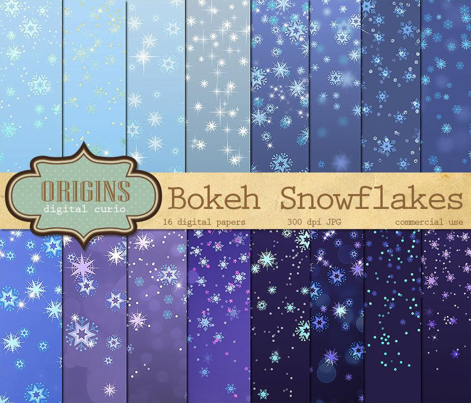 Bokeh Snowflakes Digital Paper Pack