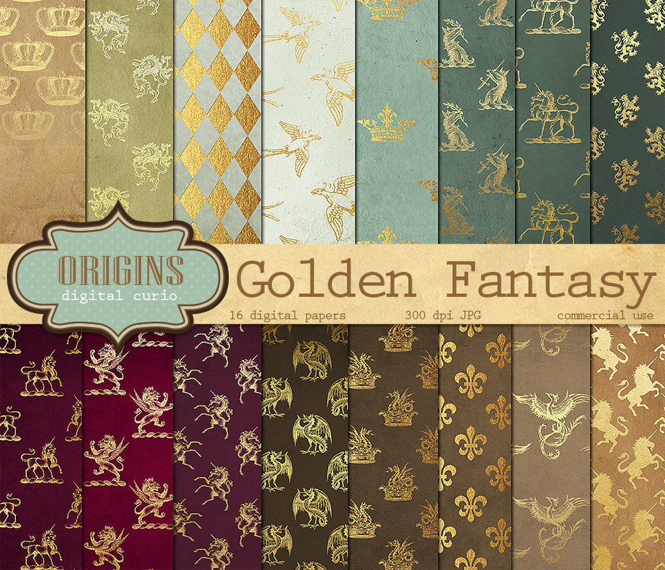 Golden Fantasy Digital Scrapbook Paper Pack