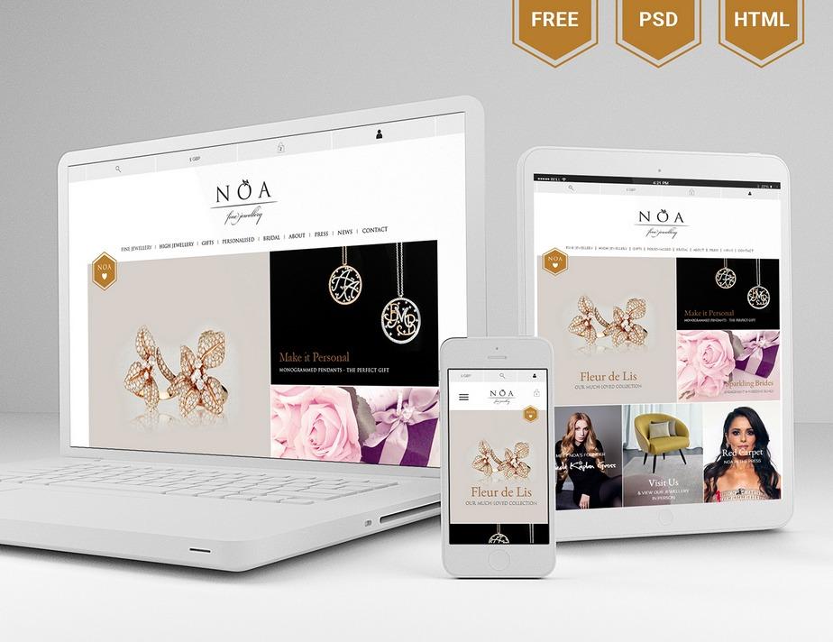 Noa jewelry sales website template