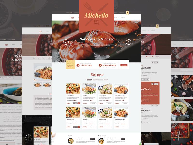 Restaurant WordPress Template PSD