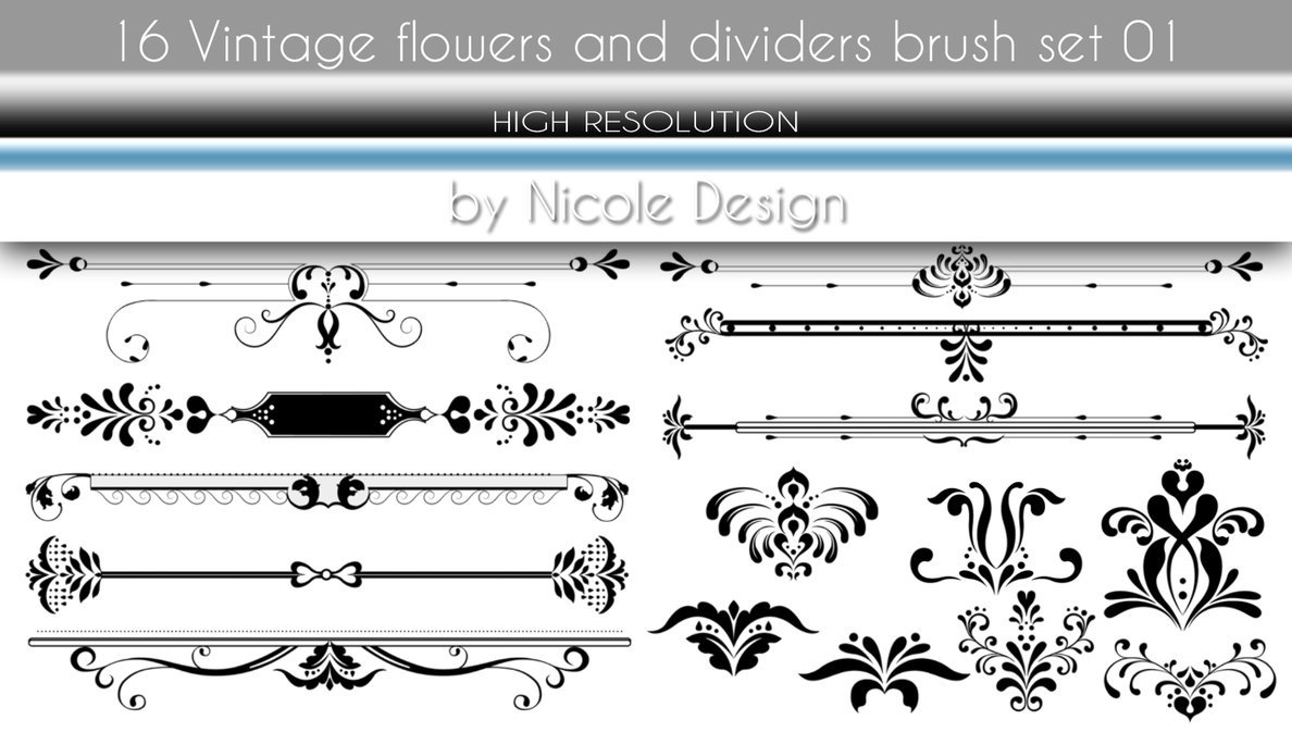 16 Vintage flowers and dividers brush set 01