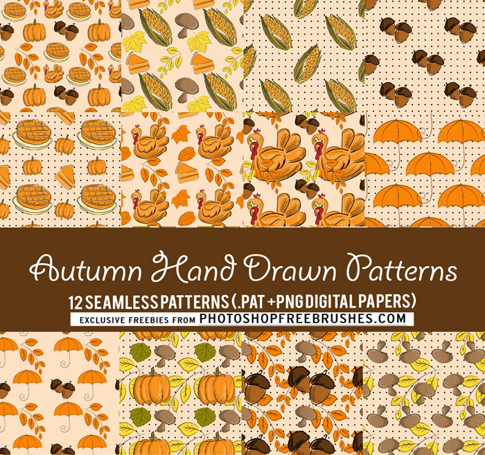 12 Seamless Fall Patterns and Backgrounds