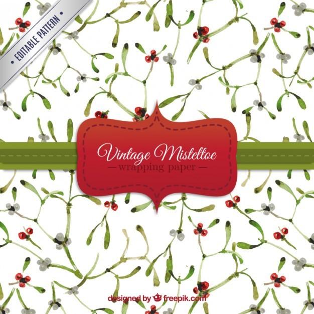 Vintage mistletoe pattern