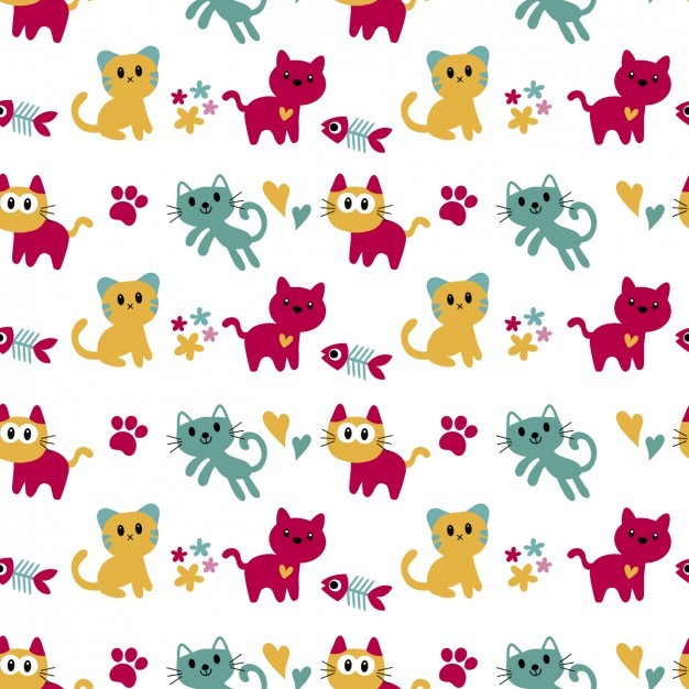 Pattern with cute cats