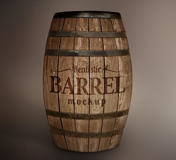 Free Wooden Barrel MockUp