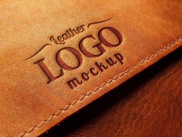 Embossed Leather Logo MockUp PSD