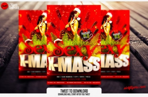 Red Christmas flyer brochure template
