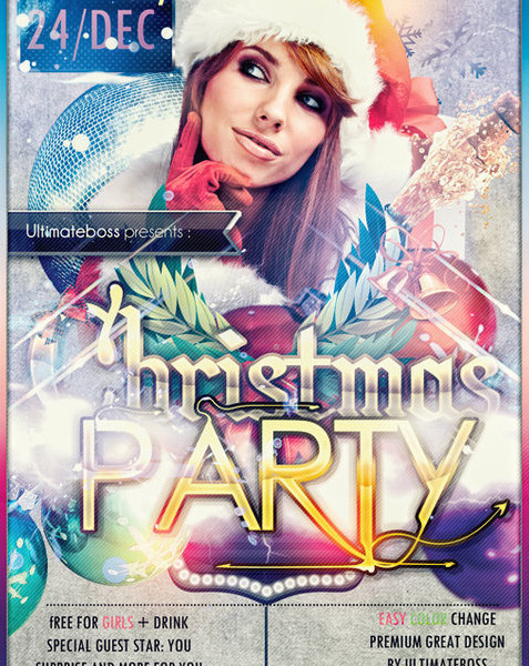 Christmas Party Free Club PSD Flyer Template