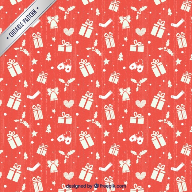Red christmas gifts pattern