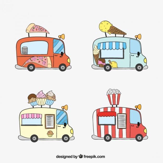 Hand drawn fast food trucks