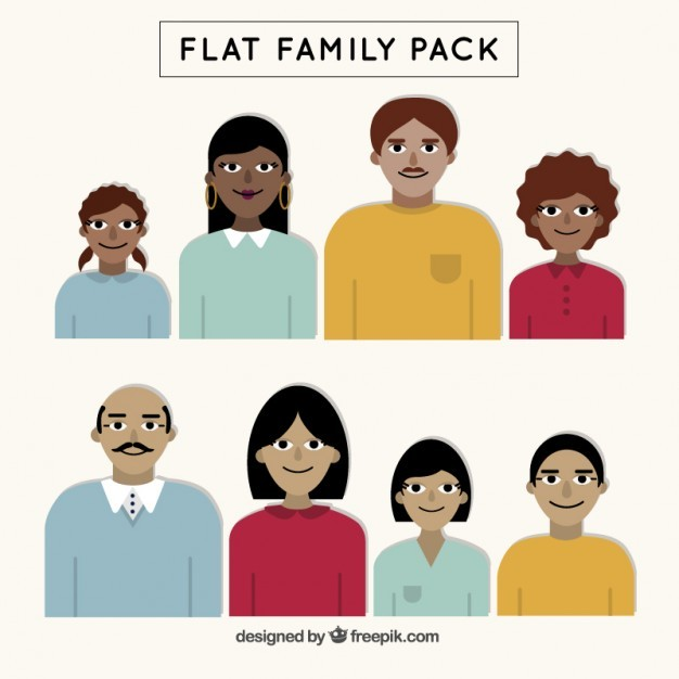 Family pack in flat design