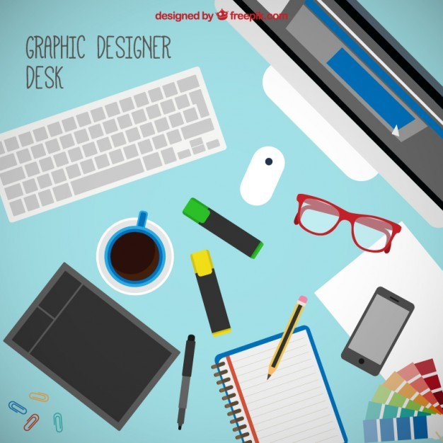 Graphic designer tools on the desk
