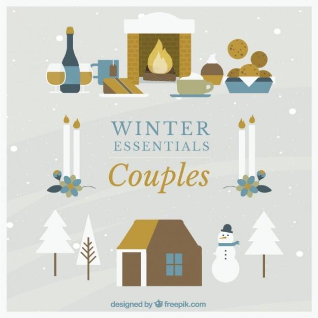 Winter Couples Icon Set