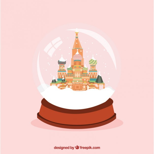 Saint Basil's Cathedral inside a snow globe