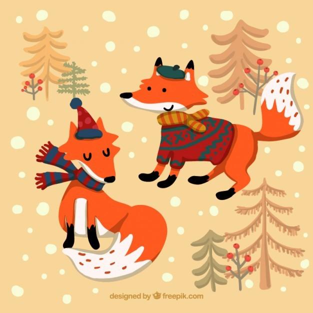Cartoon winter foxes