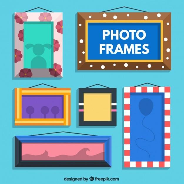 Variety of flat photo frames