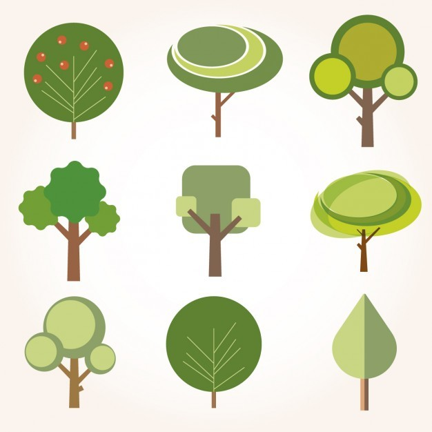 Collection of trees in flat design