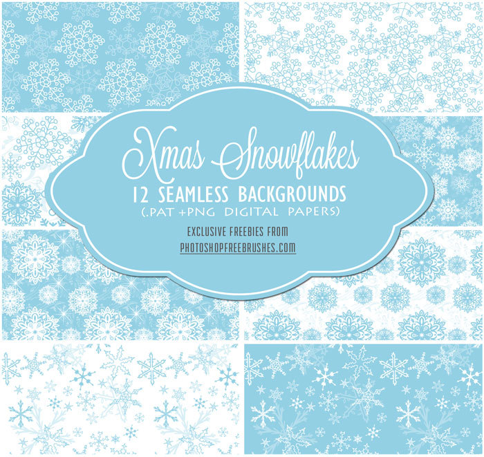 12 Seamless Blue Snowflakes Patterns