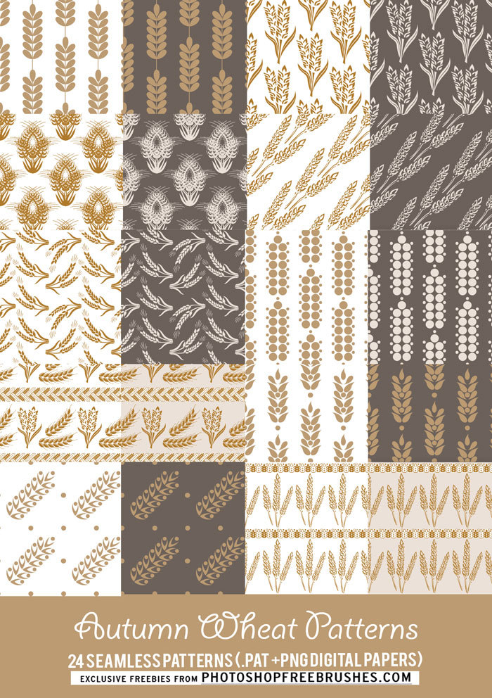 24 Autumn Backgrounds: Wheat Patterns