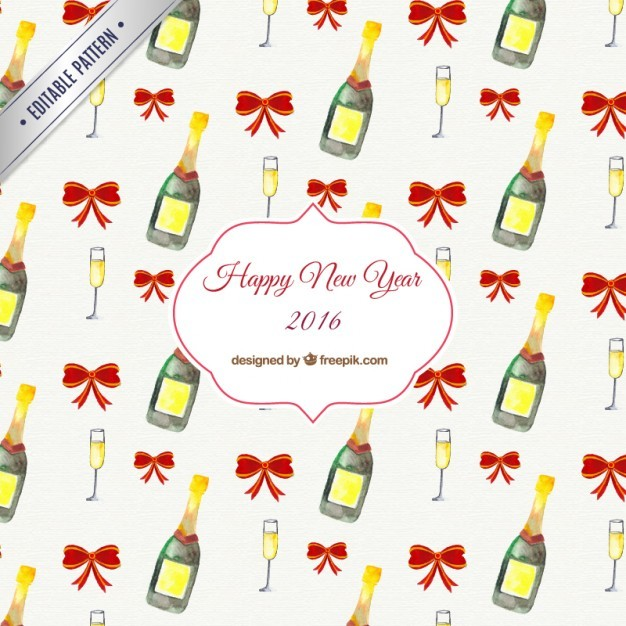 Hand painted new year pattern