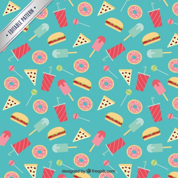 Flat sweets and fast food pattern