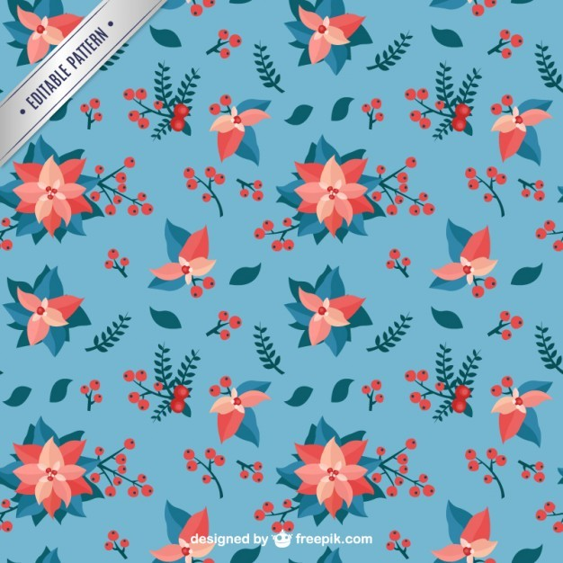 Mistletoe Blue Pattern