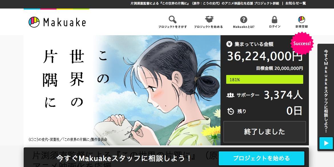 片渕須直監督による『この世界の片隅に』(原作:こうの史代)のアニメ映画化を応援