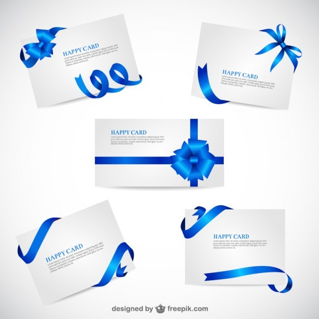 Greeting cards template with blue ribbons