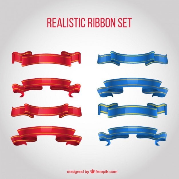 Realistic ribbons set